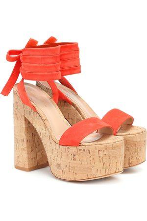 Gianvito Rossi Mujer Sandalias - Sandalias de gamuza de plataforma