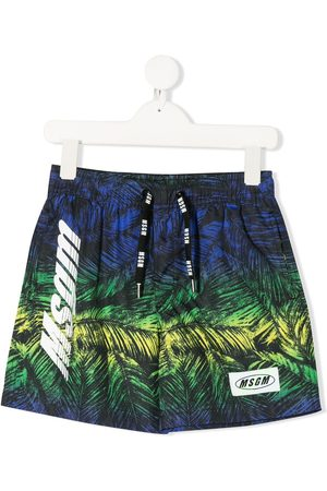 Msgm Foliage-print logo swimming shorts