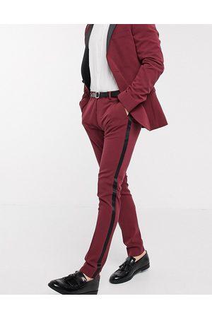 ASOS Pantalones de esmoquin muy ajustados en burdeos de