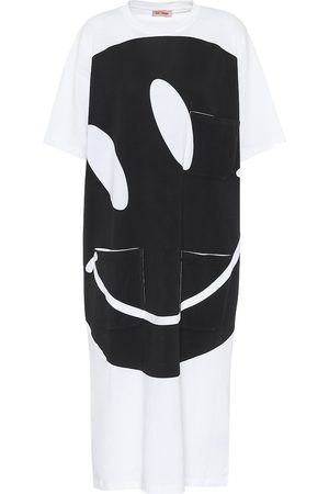 RAF SIMONS Vestido midi de algodón estampado