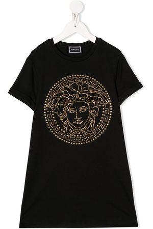 VERSACE Vestido estilo camiseta con logo con apliques