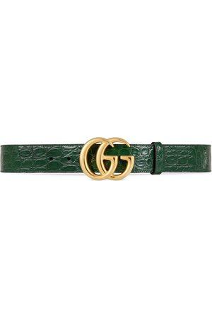 Gucci Cinturón GG Marmont de cocodrilo con hebilla brillante