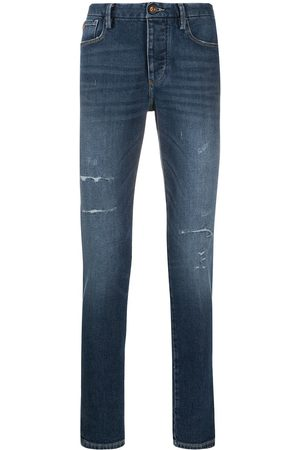 Emporio Armani Distressed mid-rise skinny jeans