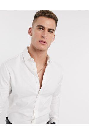 ASOS Hombre De vestir - Camisa Oxford de vestir de corte ajustado en blanco de