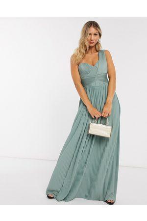 ASOS Vestido largo asimétrico con panel plisado en color menta verde Premium de
