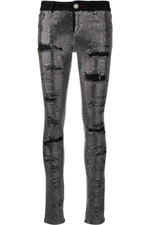 Philipp Plein Mujer Cintura alta - Vaqueros pitillo con detalle de cristales
