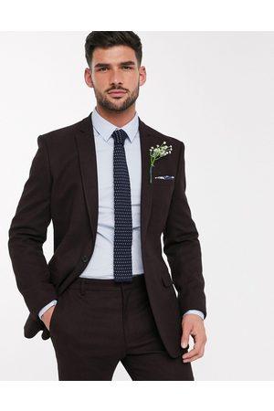 ASOS Chaqueta de traje ajustada de efecto lana en burdeos de Wedding-Rojo