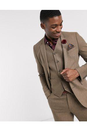 ASOS Chaqueta de traje muy ajustada de mezcla de lana y diseño de espiga en camel de wedding-Beis