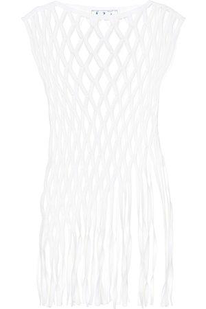 OFF-WHITE Top de macramé en mezcla de algodón