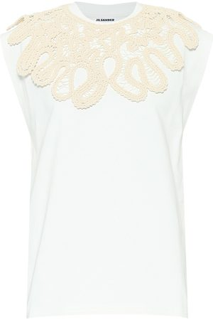 Jil Sander Camiseta de algodón bordada