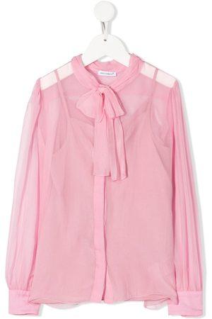Dolce & Gabbana Blusa translúcida con lazo en el cuello