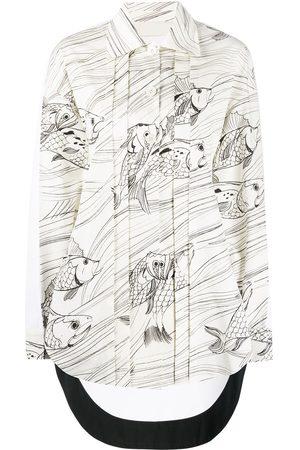 Jil Sander Camisa con estampado de peces