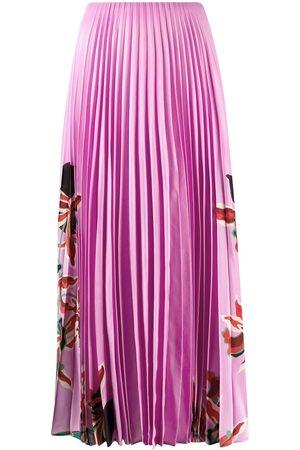 VALENTINO Falda con motivo floral y pliegues