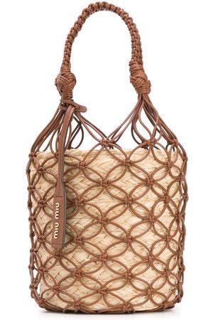 Miu Miu Netted straw bucket bag