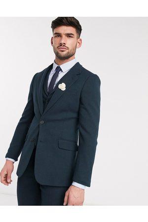 ASOS Chaqueta de traje muy ajustada de sarga de mezcla de lana en verde oscuro de Wedding