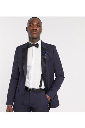 ASOS Hombre Blazers - Chaqueta de esmoquin ajustada en azul marino de Tall