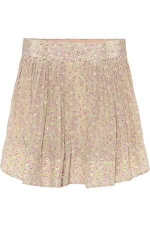 Chloé Shorts de seda de tiro alto floral