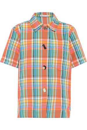 camisa cuadros naranja beige mujer manga corta