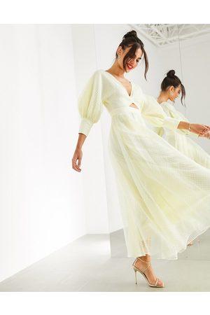 ASOS EDITION Mujer Casual - Vestido midi con manga estilo blusón en organza a cuadros de -Amarillo