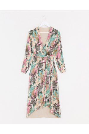 Style Cheat Vestido largo con lazada lateral y diseño reversible en estampado floral veraniego en contraste de -Multicolor