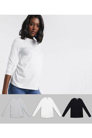 ASOS Pack de 3 camisetas de manga larga con cuello redondo de algodón orgánico Ultimate de ASOS DESIGN Maternity, AHORRA-Gris