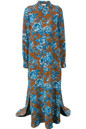 Ami Paris Vestido camisero floral largo de manga larga