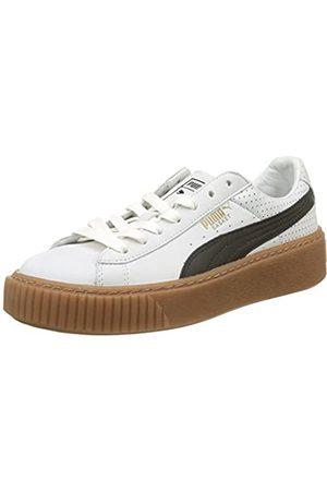 Puma Basket Platform Perf Gum, Zapatillas para Mujer, White-Black-Gold