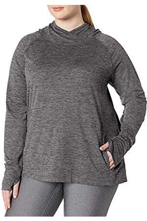 Amazon Plus Size Brushed Tech Stretch Popover Hood Fashion-Hoodies, Dark Grey Space Dye