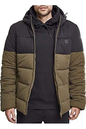 Urban classics Hooded 2-Tone Puffer Jacket, Chaqueta para Hombre, Grün (Dark-Olive/Black 00795)