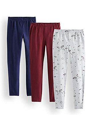 RED WAGON Girl's Printed Leggings, Multicolour (Grey, Burgundy and Navy), 152 (Manufacturer Size: 12)