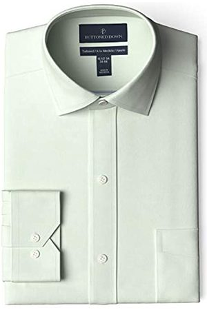 Buttoned Down Marca Amazon - Camisa de Vestir Ajustada con Cuello esparcido Pinpoint sin Plancha dress-shirts