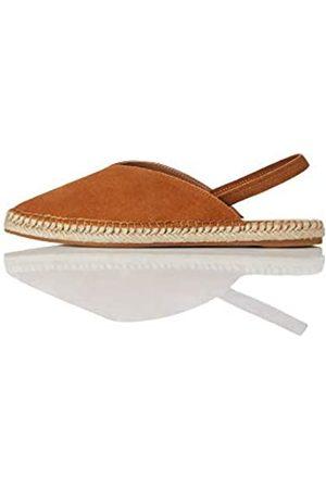 FIND Slingback Leather Espadrille Sandalias de Talón Abierto, Tan