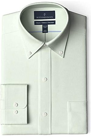 Buttoned Down Marca Amazon - Camisa de Vestir de Ajuste clásico con Cuello de Botones Pinpoint sin Planchar. Dress-Shirts