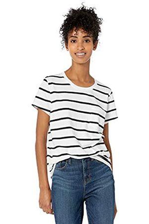Goodthreads Washed Jersey Cotton Pocket Crewneck T-Shirt fashion-t-shirts, White Open Stripe