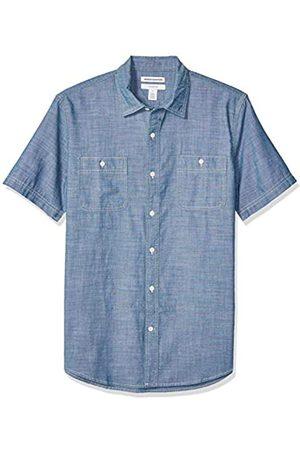 Amazon Camisa de cambray con manga corta y corte entallado para hombre