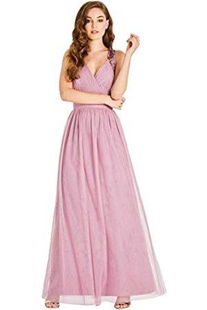 Little Mistress Chandra Blush Sequin Trim Maxi Dress Vestido, (Dusty 001)