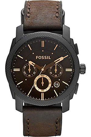 Fossil Machine Cronógrafo de Acero Inoxidable con Correa de Cuero marrón Cronómetro y funcionalidad del Temporizador - FS4656