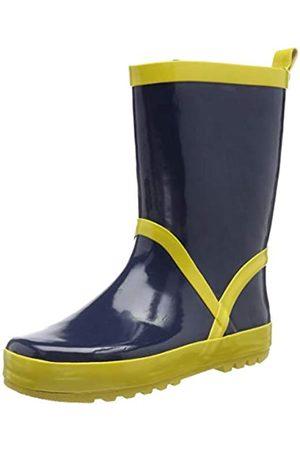 Playshoes Bota de Agua Classic, Botas de Goma de Caucho Natural Unisex Niños, (Marine/Gelb 413)