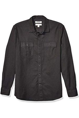Goodthreads Marca Amazon – – Camiseta de manga larga de corte entallado de sarga a cuadros para hombre