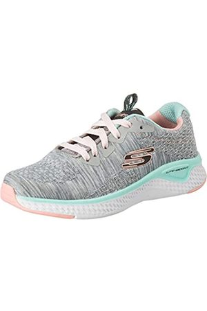 Skechers Solar Fuse Brisk Escape, Zapatillas Chica, (Gray Knit Mesh/Black, Pink & Mint Trim GYMT)