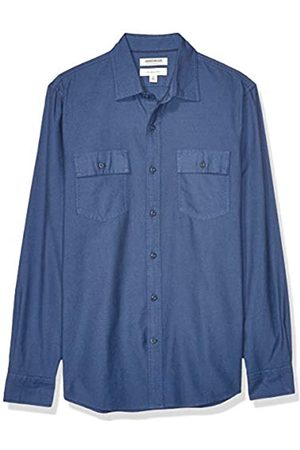 Goodthreads Slim-Fit Long-Sleeve Plaid Herringbone Shirt Button-Down-Shirts, Denim Blue