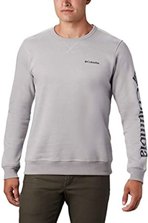 Columbia M Model Sudadera sin Capucha con Logo, Hombre, / Grey Heather, Collegiate Navy