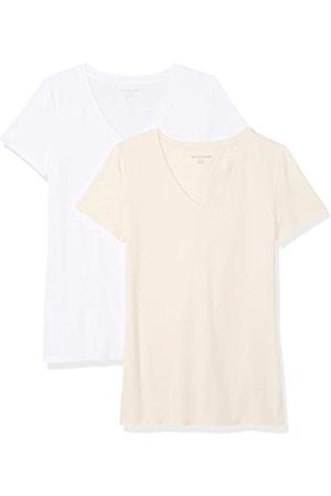 Amazon Camiseta de manga corta de corte clásico con cuello en V para mujer (2 unidades)
