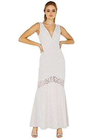 Little Mistress Abbie Plunge Maxi Dress with Lace Insert Vestido, Morado (Lilac)