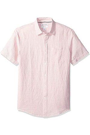 Amazon Camisa de lino a rayas, de manga corta y corte entallado para hombre
