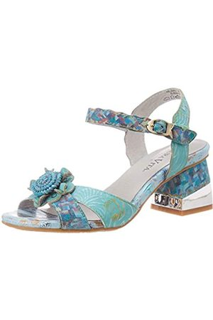 LAURA VITA Hecbino 03, Sandalias con Punta Abierta para Mujer, (Turquoise Turquoise)