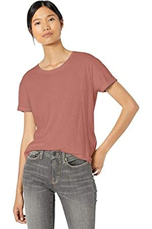 Goodthreads Washed Jersey Cotton Roll-Sleeve Open Crewneck T-Shirt Fashion-t-Shirts, Dusty Rose