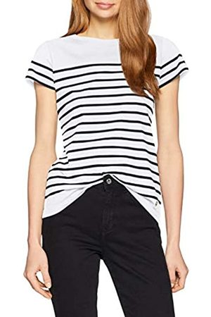 Armor.lux Marinière \etel\ Héritage Femme Camiseta, Blanc/Rich Navy Bi9