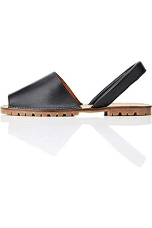 FIND Menorcan Leather Sandalias de Talón Abierto, Black