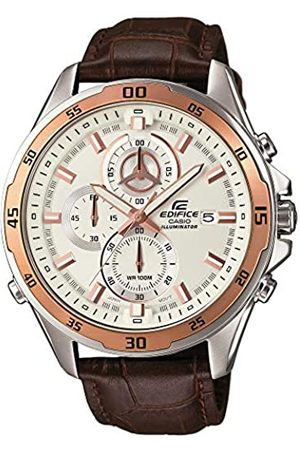 Casio EDIFICE Reloj en caja sólida de acero inoxidable, 10 BAR, Bronceado, para Hombre, con Correa de Cuero